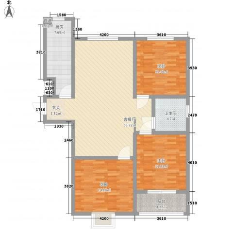 康瑞悦府3室1厅1卫1厨134.00㎡户型图