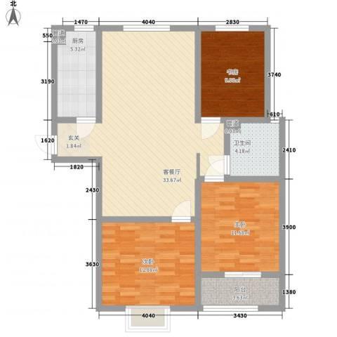 康瑞悦府3室1厅1卫1厨128.00㎡户型图