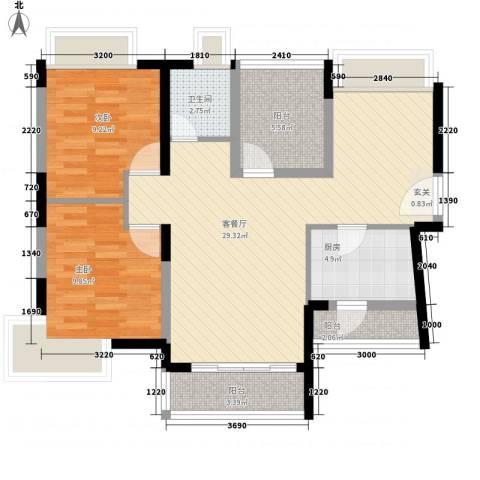 名流印象花园2室1厅1卫1厨85.00㎡户型图