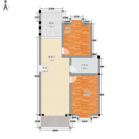 金鑫花苑2室1厅1卫1厨90.00㎡户型图