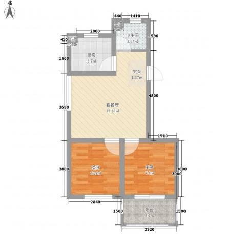 香槟蓝郡2室1厅1卫1厨62.00㎡户型图