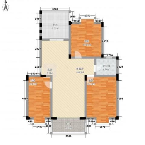 金鑫花苑3室1厅1卫1厨114.00㎡户型图