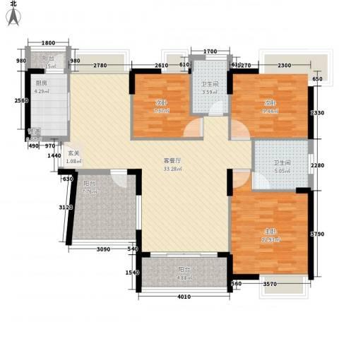 名流印象花园3室1厅2卫1厨120.00㎡户型图