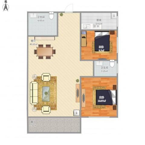 国贸金海岸2室1厅2卫1厨103.00㎡户型图