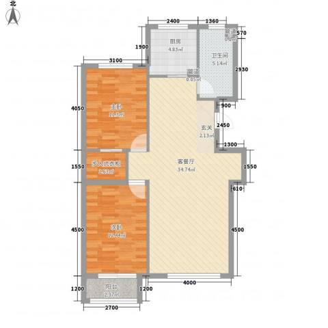 艺术中心综合楼2室1厅1卫1厨103.00㎡户型图