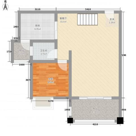 南天・星月国际广场1室1厅1卫1厨58.71㎡户型图