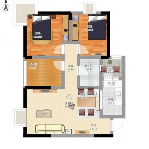 和泓南山道2室1厅1卫1厨88.00㎡户型图