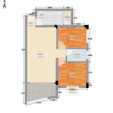 叠馨居2室1厅1卫1厨70.00㎡户型图