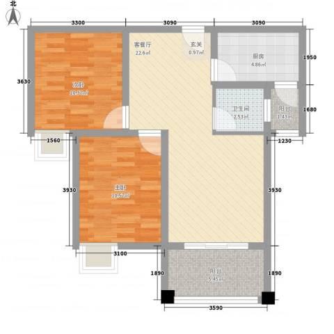 南天・星月国际广场2室1厅1卫1厨57.82㎡户型图