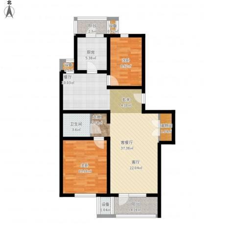 燕宇艺术城2室1厅1卫1厨115.00㎡户型图