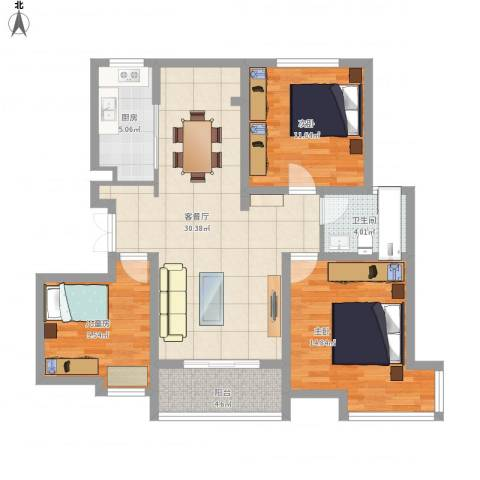 汇智湖畔家园3室1厅1卫1厨115.00㎡户型图