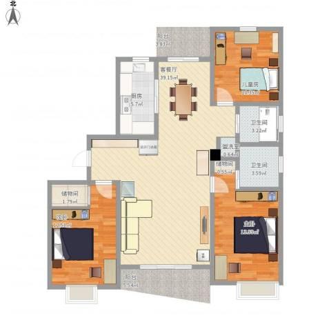 秋月枫舍二期3室2厅2卫1厨129.00㎡户型图