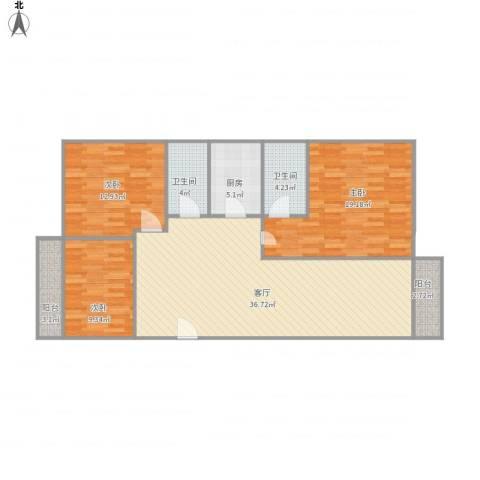 颐景苑E座2栋5023室1厅2卫1厨131.00㎡户型图