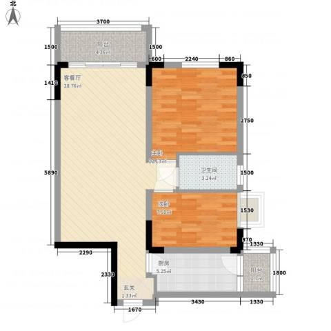 丹阳名居2室1厅1卫1厨87.00㎡户型图
