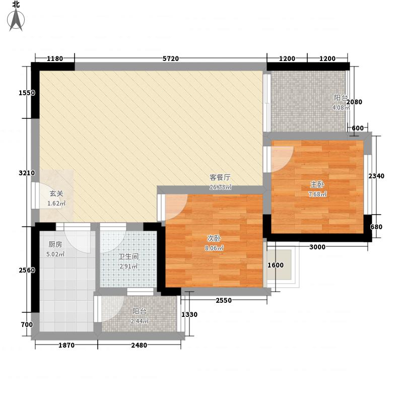 银河花园15户型2室2厅1卫1厨