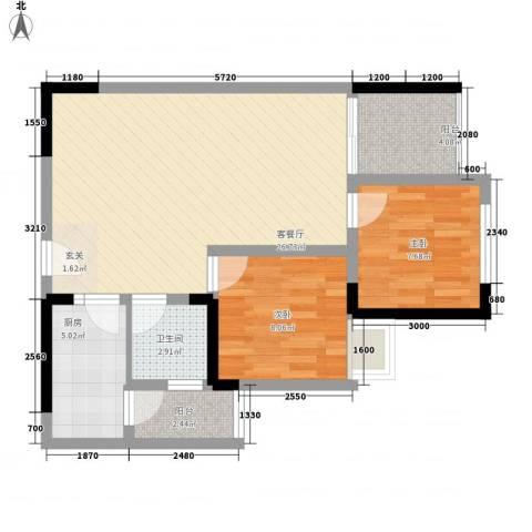 银河花园2室1厅1卫1厨83.00㎡户型图