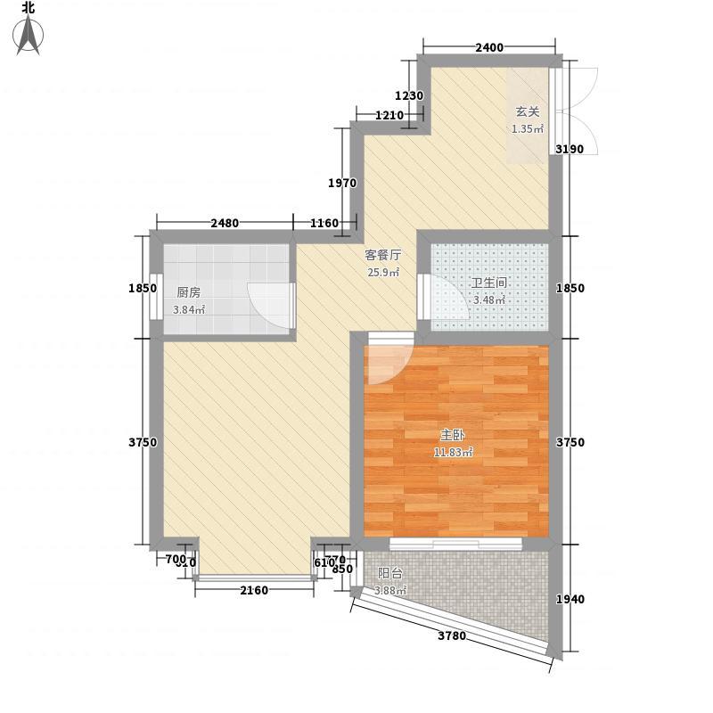 中南海湾新城71.42㎡6号楼A/B户型1室2厅1卫