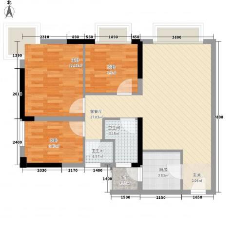 滨江瑞城3室1厅2卫1厨88.00㎡户型图