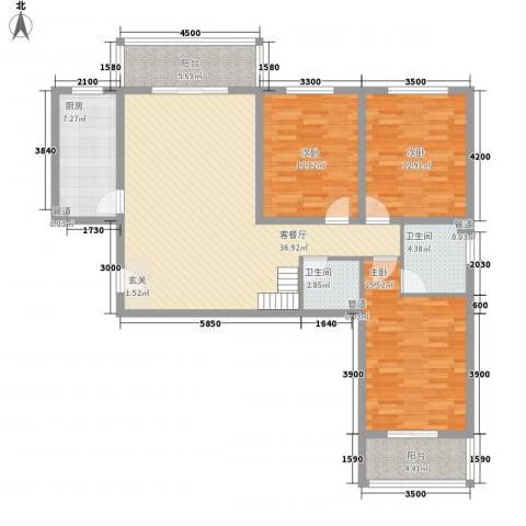 金源花园3室1厅2卫1厨146.00㎡户型图