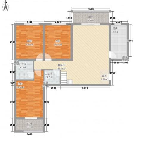 金源花园3室1厅2卫1厨114.85㎡户型图