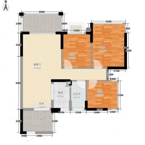 愉园花园3室1厅1卫1厨103.00㎡户型图