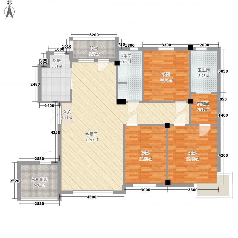 亿诚御景湾143.00㎡5#楼M户型3室2厅2卫1厨