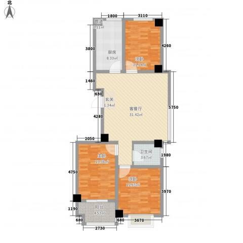 鸿泰华府3室1厅1卫1厨123.00㎡户型图