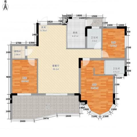 城市江山3室1厅2卫1厨113.00㎡户型图