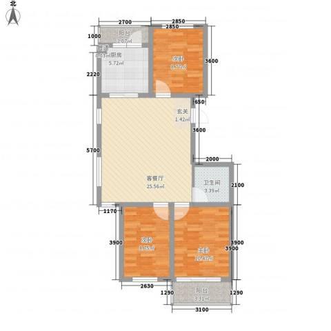 天娇园3室1厅1卫1厨68.06㎡户型图