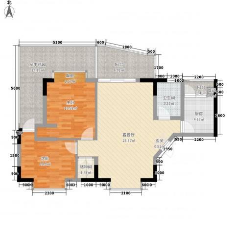 城市江山2室1厅1卫1厨85.56㎡户型图