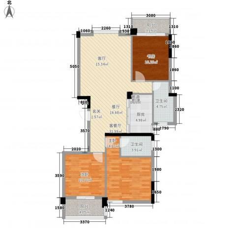 馨庭花园3室1厅2卫1厨125.00㎡户型图