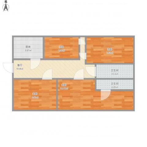 龙跃苑东五区4室1厅2卫1厨70.00㎡户型图