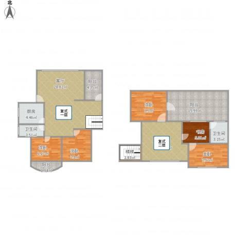 园林花园一期8-7A复式五房5室2厅2卫1厨155.00㎡户型图