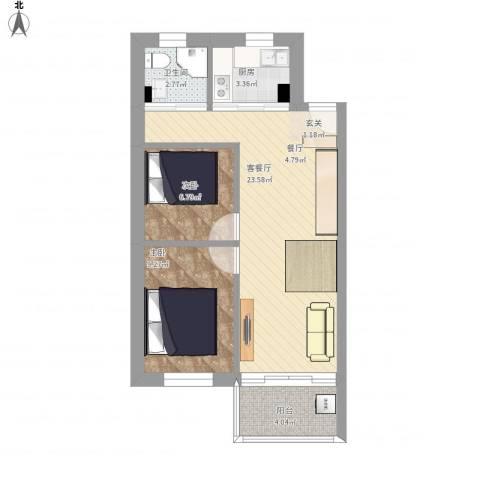 穗茵园2室1厅1卫1厨75.00㎡户型图