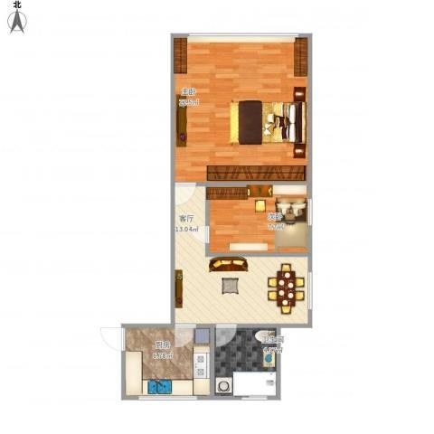 绿新小区2室1厅1卫1厨74.00㎡户型图