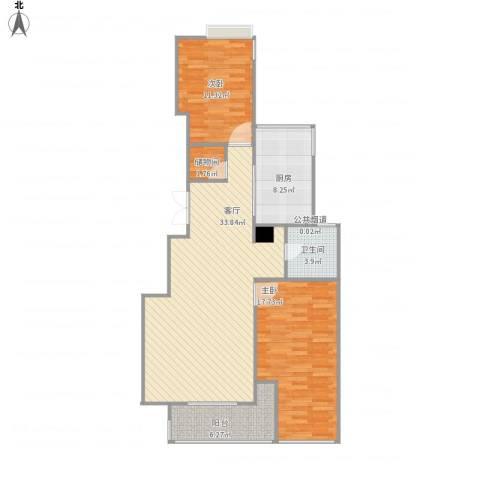康桥半岛城中花园2室1厅2卫1厨112.00㎡户型图