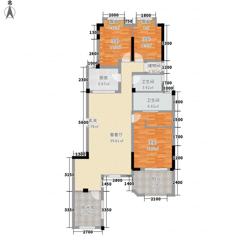 联投金色港湾剑桥郡138.85㎡1、3、8-12栋1-1户型4室2厅2卫1厨