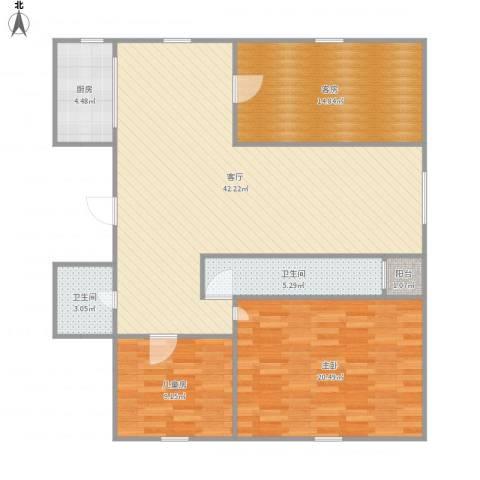 海昌欣城2室1厅2卫1厨134.00㎡户型图