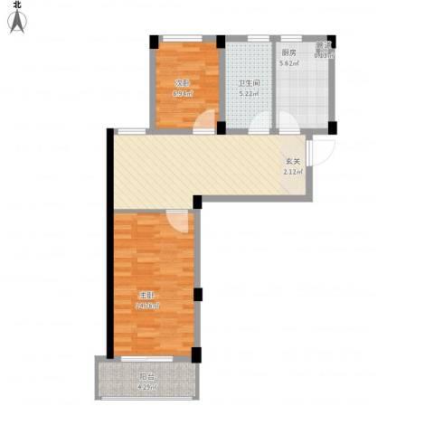 阳光逸城2室1厅1卫1厨76.00㎡户型图