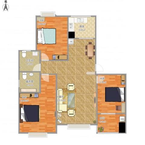 中铁・尚都城3室2厅1卫1厨133.00㎡户型图
