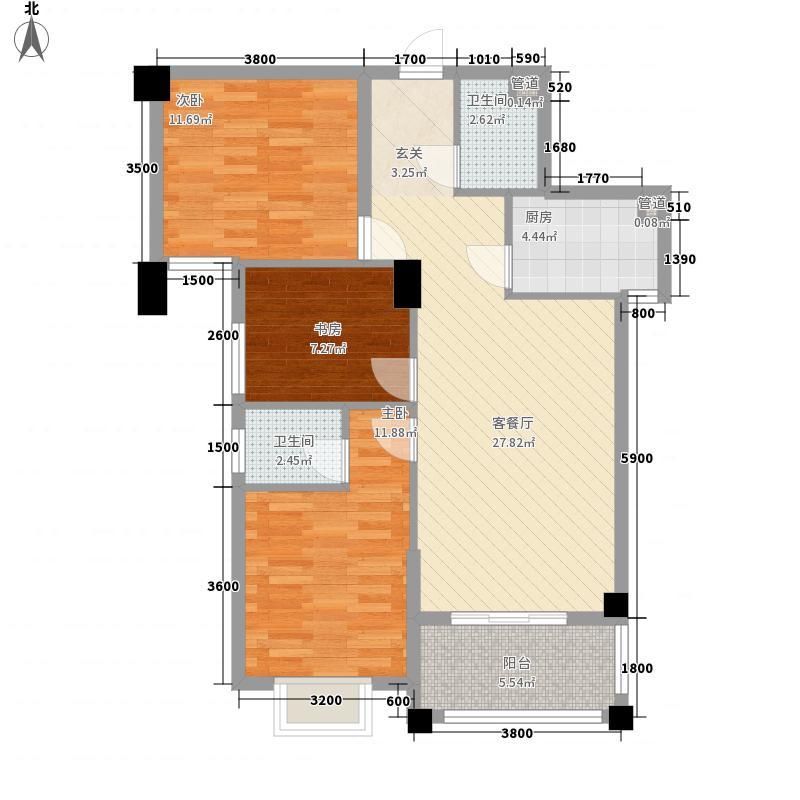 恒润御景11.20㎡御景舒适系列户型3室2厅2卫1厨