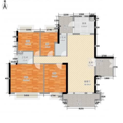 新世界东逸花园4室1厅2卫1厨174.00㎡户型图