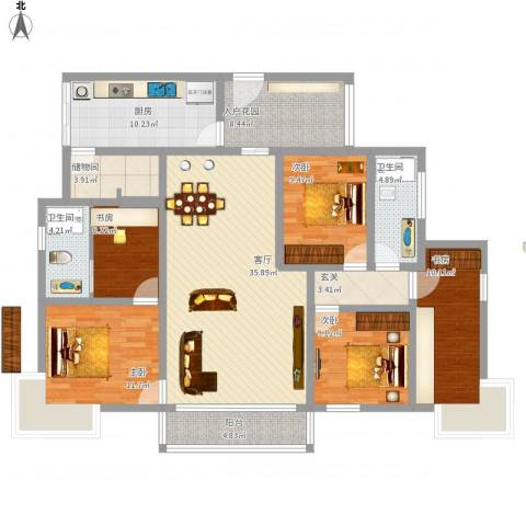 缙云小区5室1厅2卫1厨174.00㎡户型图