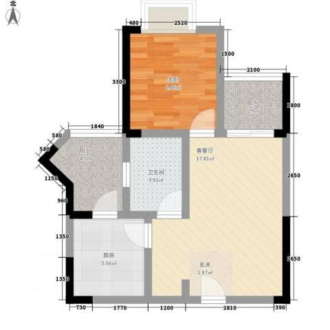 梓山湖领御1室1厅1卫1厨64.00㎡户型图