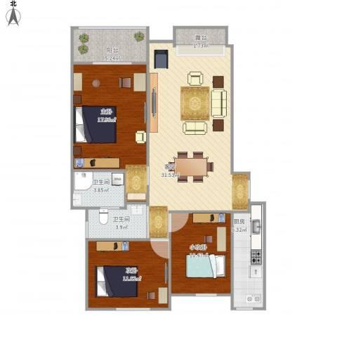 齐鲁时代花园2室1厅2卫1厨125.00㎡户型图