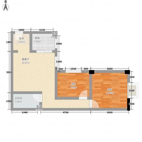 大唐龙庭(大唐智能花园三期)2室1厅1卫1厨86.00㎡户型图