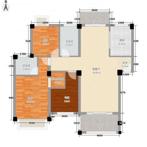 龙虎南里3室1厅2卫1厨133.00㎡户型图