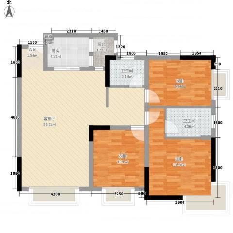 渝复新城丽都3室1厅2卫1厨83.85㎡户型图