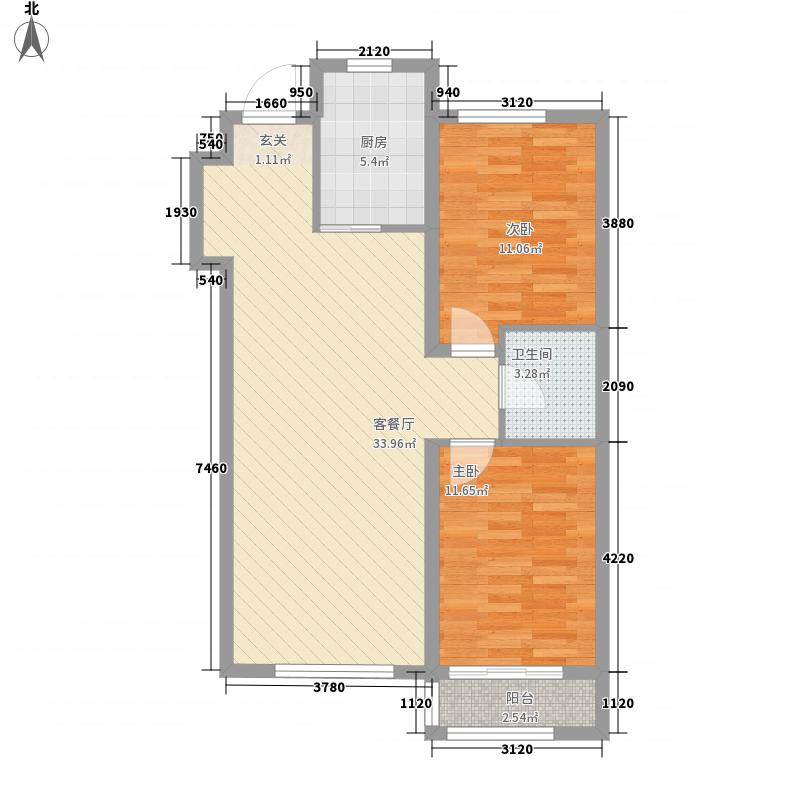清河逸景32216.20㎡户型2室2厅1卫1厨