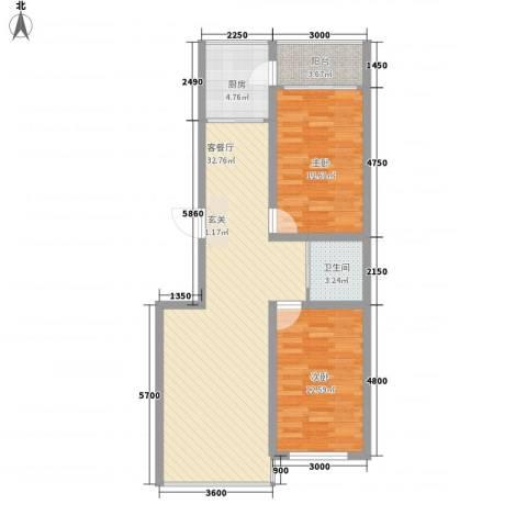 中新花园2室1厅1卫1厨100.00㎡户型图